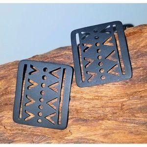Black Earrings Aztec Tribal Geometric